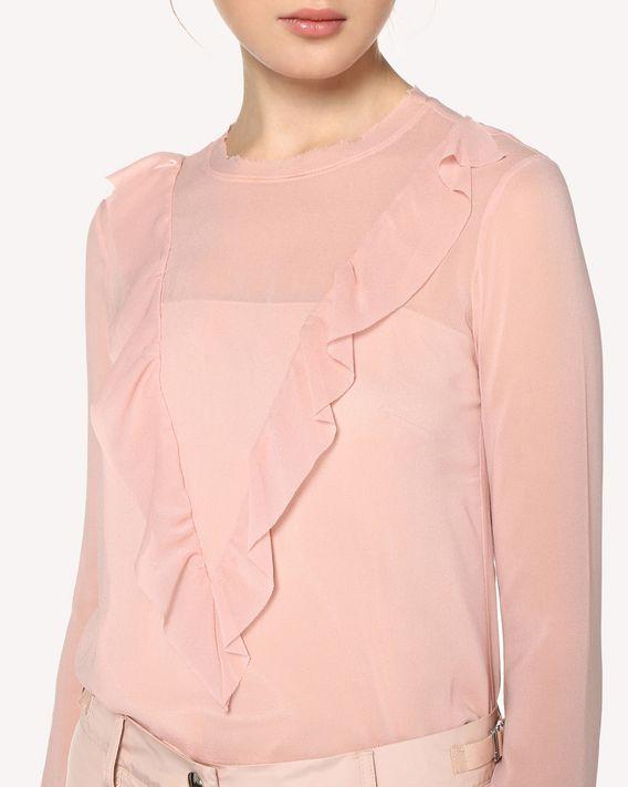 REDValentino 褶饰细节真丝上衣