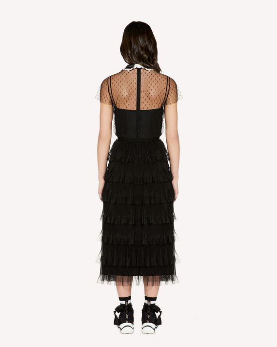 REDValentino 蝴蝶结领细节细点网眼薄纱上衣