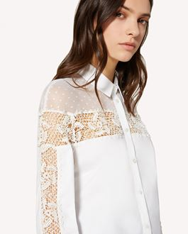 REDValentino 波点棉质网眼、棉质府绸衬衫