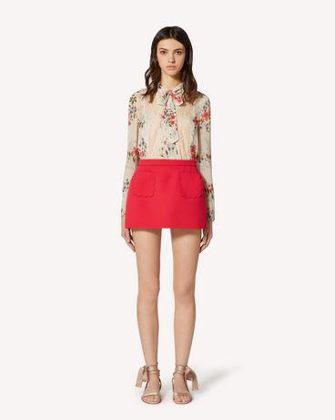 REDValentino 蕾丝饰带、Balze Floreali 印纹平纹细布上衣