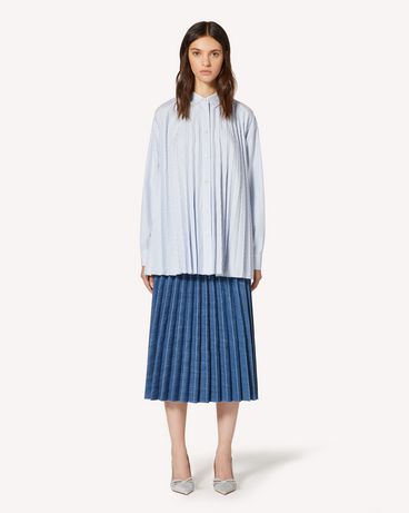 REDValentino 条纹棉质褶裥衬衫