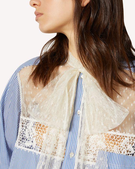 REDValentino 细点网眼薄纱、丝棉混纺条纹织物衬衫