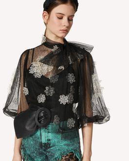REDValentino 欧根纱花卉刺绣细点网眼薄纱上衣