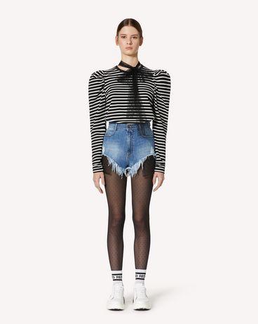 REDValentino 细点网眼薄纱与条纹平纹针织 T 恤