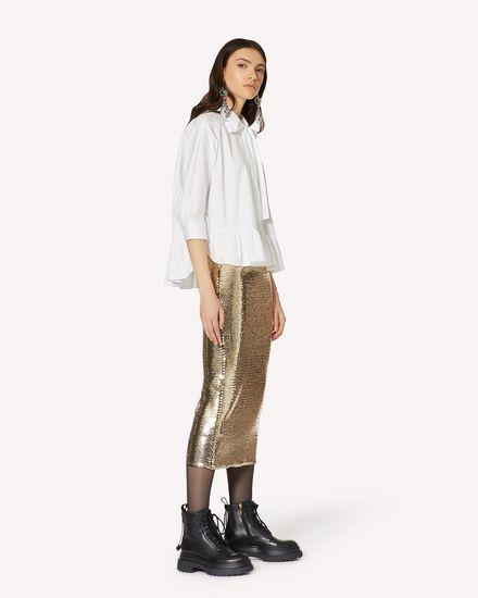 褶边细节棉质府绸衬衫