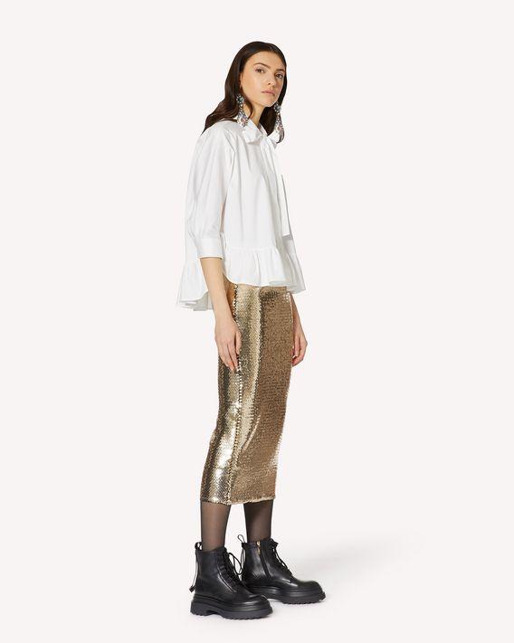 REDValentino 褶边细节棉质府绸衬衫