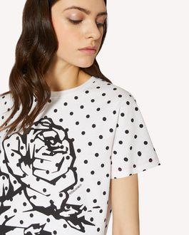 REDValentino 图案玫瑰与波尔卡圆点印纹 T 恤