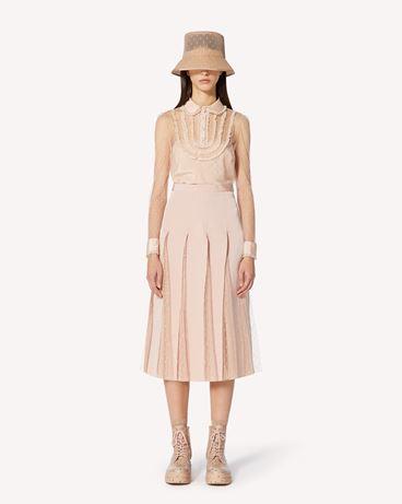 REDValentino 细点网眼薄纱上衣配蕾丝饰带