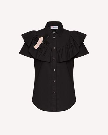 REDValentino 褶边与蝴蝶结细节棉质府绸衬衫