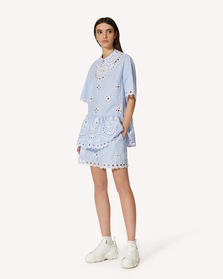 Sangallo 刺绣条纹棉质上衣