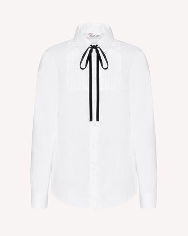 REDValentino 棉质府绸衬衫配缎带