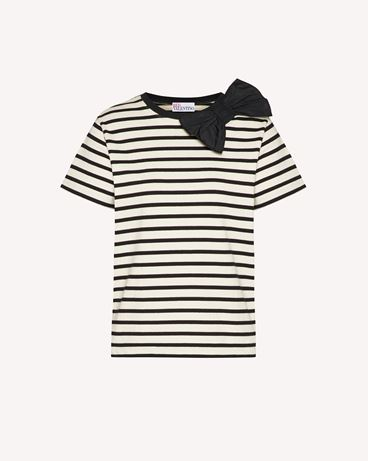 REDValentino 蝴蝶结细节条纹 T 恤