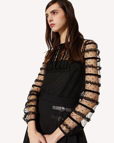 REDValentino 细点网眼薄纱上衣配蕾丝与天鹅绒饰带