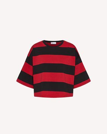 "REDValentino ""REDVALENTINO R""  印纹条纹 T 恤"