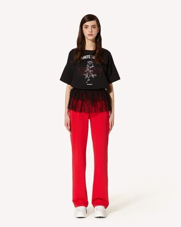 REDValentino Rose 印纹 T 恤配蕾丝
