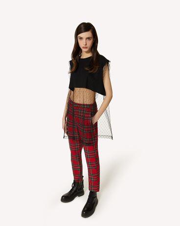 "REDValentino ""The Black Tag""。<br>- 细点网眼薄纱装饰 T 恤"