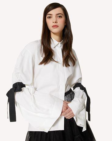 REDValentino The Black Tag。<br>- 棉质府绸衬衫与塔夫绸饰带