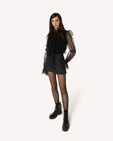 REDValentino The Black Tag。<br>- 褶饰细点网眼薄纱衬衫