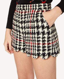 REDValentino 扇形细节千鸟格羊毛短裤