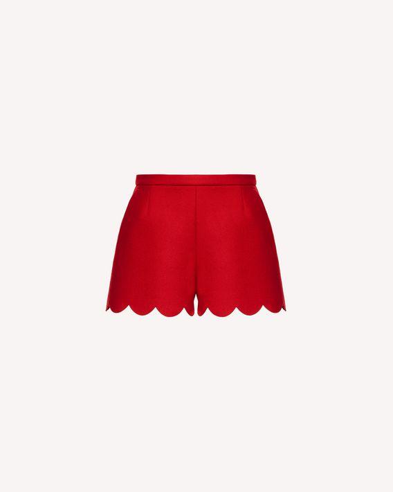 REDValentino 扇形细节羊毛羊绒混纺厚呢短裤