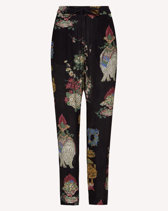 REDValentino 中国漆器印纹真丝长裤