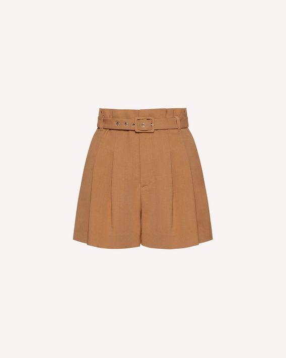 REDValentino 缝线细节羊毛粘胶混纺华达呢短裤