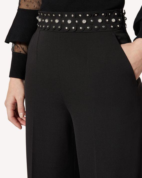 REDValentino 球饰细节弹力羊毛棱纹平布九分裤