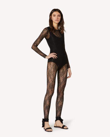 平纹针织蕾丝打底裤