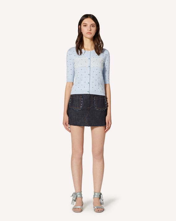 REDValentino 扇形细节牛仔短裤