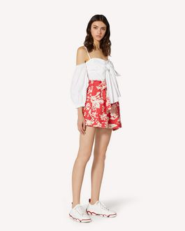 REDValentino Graphic Flora 印纹棉质帆布短裤