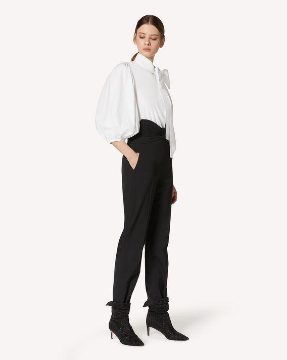 REDValentino 礼服蝴蝶结细节羊毛弹力棱纹平布长裤