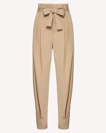 REDValentino 腰带款粘胶羊毛混纺华达呢长裤