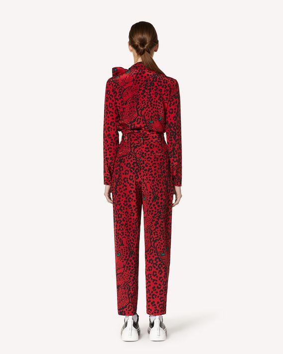 REDValentino 腰带款 Leo Panther 印纹真丝长裤