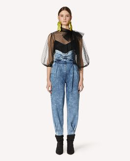 REDValentino 礼服蝴蝶结细节大理石纹牛仔裤