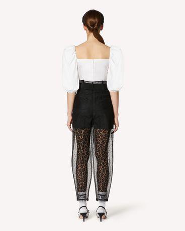 REDValentino 腰带款细点网眼薄纱长裤