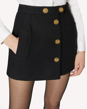 REDValentino 纽扣细节羊毛羊绒面料短裤