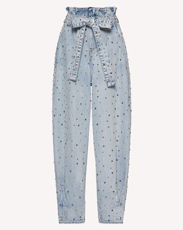 REDValentino 莱茵石刺绣牛仔裤