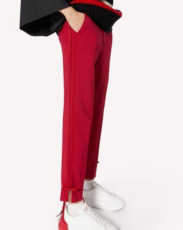 REDValentino 蝴蝶结细节弹力黏胶纤维羊毛混纺华达呢长裤