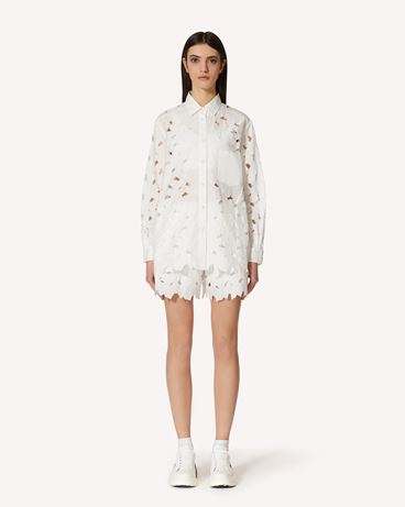 REDValentino  镂花刺绣棉质府绸短裤