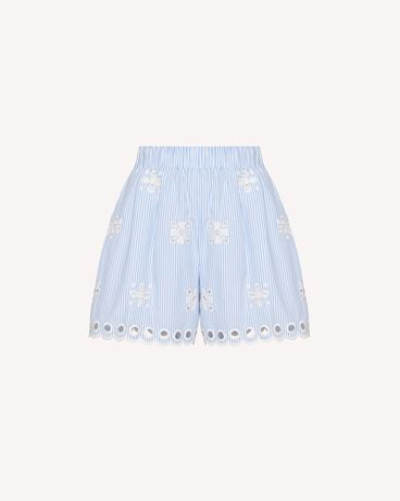 REDValentino Sangallo 刺绣条纹棉质短裤
