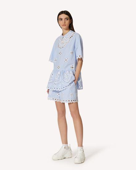 Sangallo 刺绣条纹棉质短裤