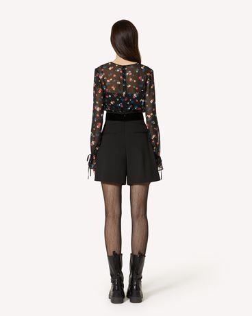 REDValentino 礼服蝴蝶结细节羊毛弹力棱纹平布短裤