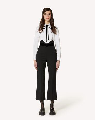 REDValentino 礼服领结细节羊毛弹力棱纹平布长裤