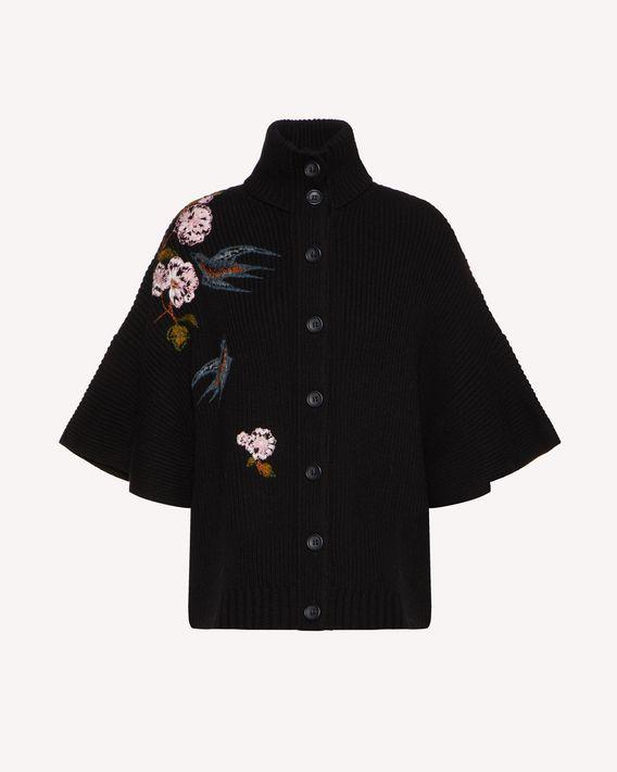 REDValentino 飞燕与花卉刺绣羊毛开衫
