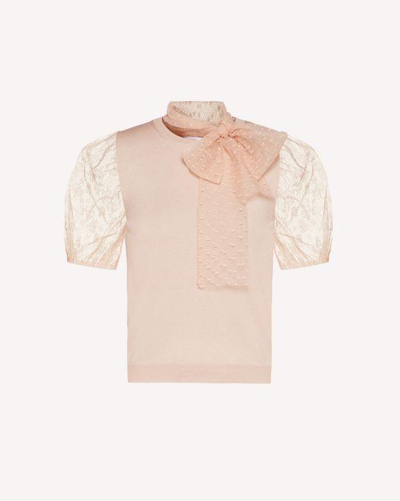 REDValentino 细点网眼薄纱、羊毛针织上衣