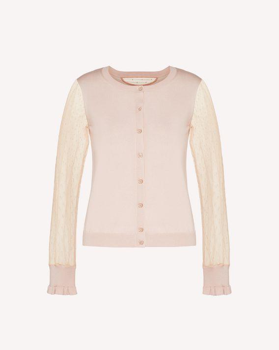 REDValentino 细点网眼薄纱、羊绒真丝混纺开衫