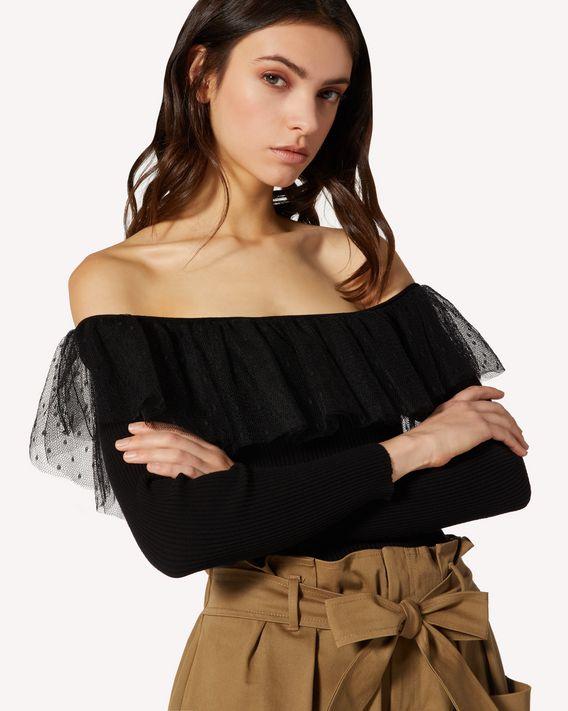 REDValentino 细点网眼薄纱与弹力粘胶针织衫