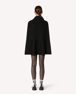 REDValentino 细点网眼薄纱装饰羊毛斗篷