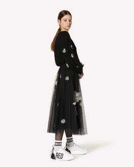 REDValentino 欧根纱花卉刺绣羊毛毛衣