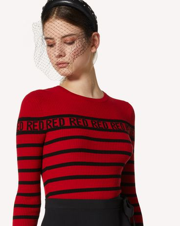 REDValentino RED RED RED 图案与条纹弹力粘胶毛衣